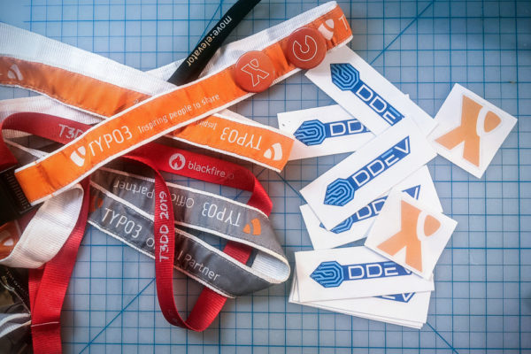 TYPO3 lanyards and DDEV and TYPO3 stickers