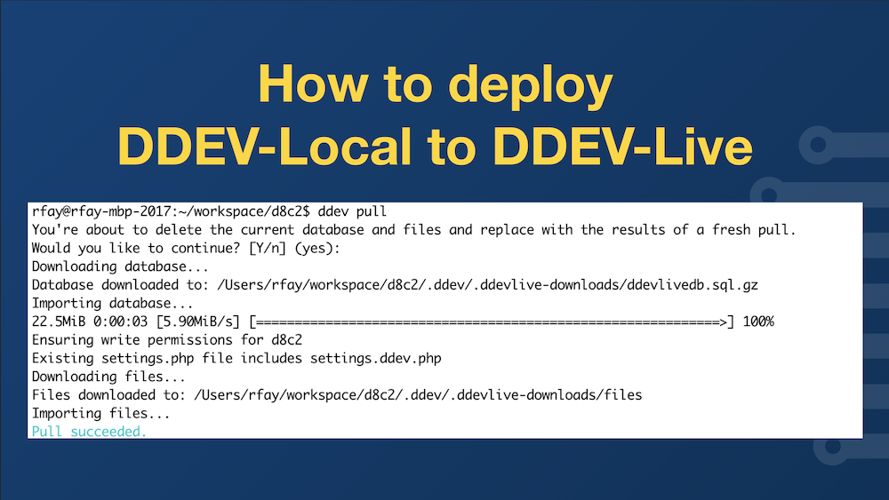 How to Deploy DDEV-Local to DDEV-Live, with screenshot of the ddev pull command