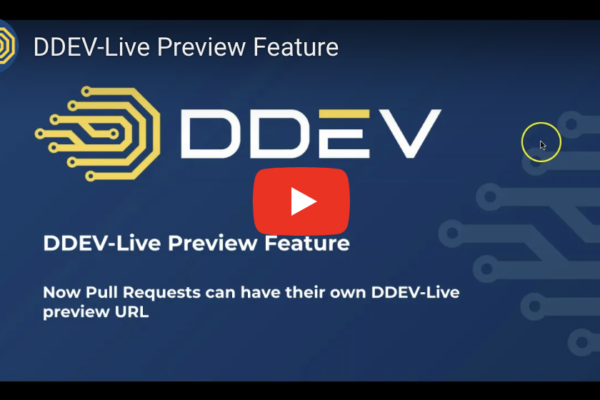 Video start screen title slide: DDEV-Live Preview, create preview URLs for pull requests