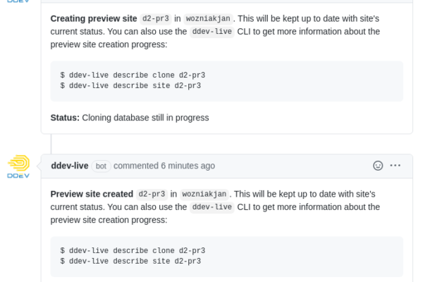 DDEV-Live Preview bot comments on GitHub showing deployment of a preview site and the preview URL