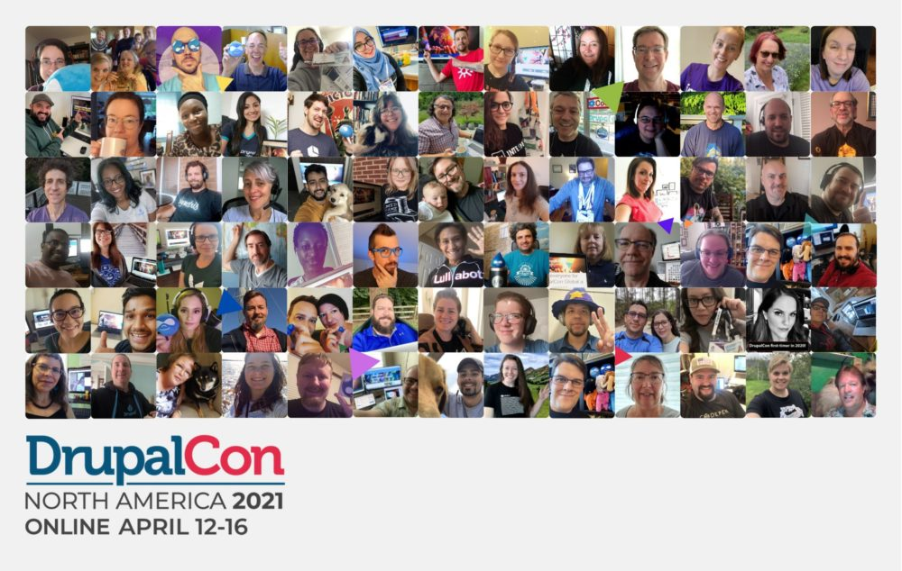 DrupalCon North America 2021 banner with group photo