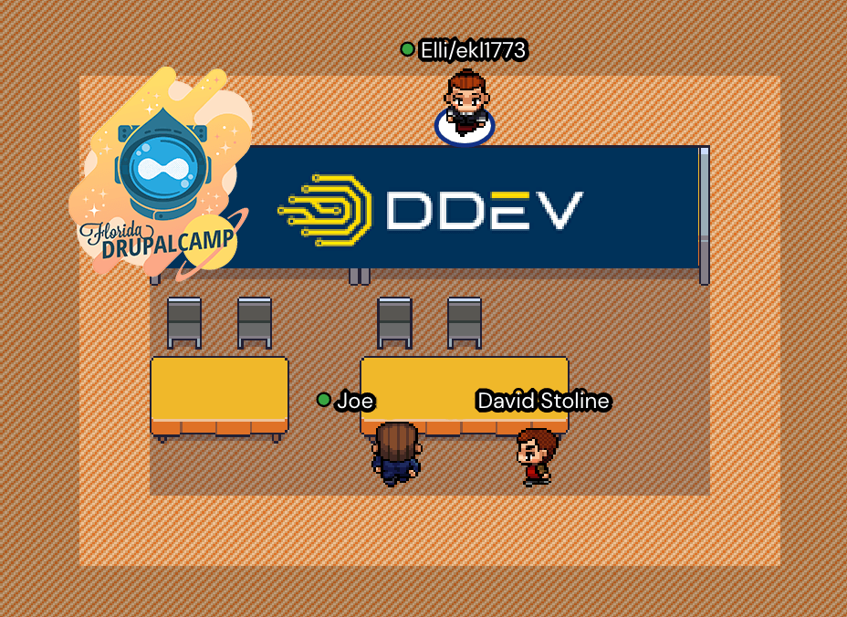 Screenshot of the virtual event space with the DDEV sponsor booth on gather.town